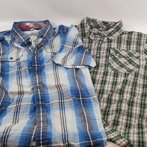 The north face blue green button up shirts medium
